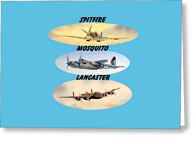 Spitfire Mosquito Lancaster Aircraft With Name Banners Greeting Card by Bill Holkham