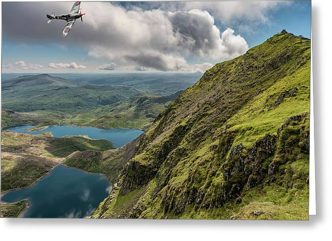 Spitfire Over Snowdon Greeting Card