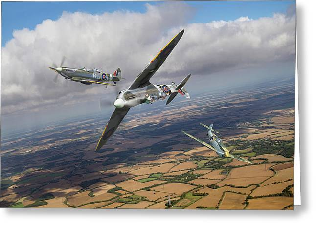 Greeting Card featuring the photograph Spitfire Tr 9 Fighter Affiliation by Gary Eason