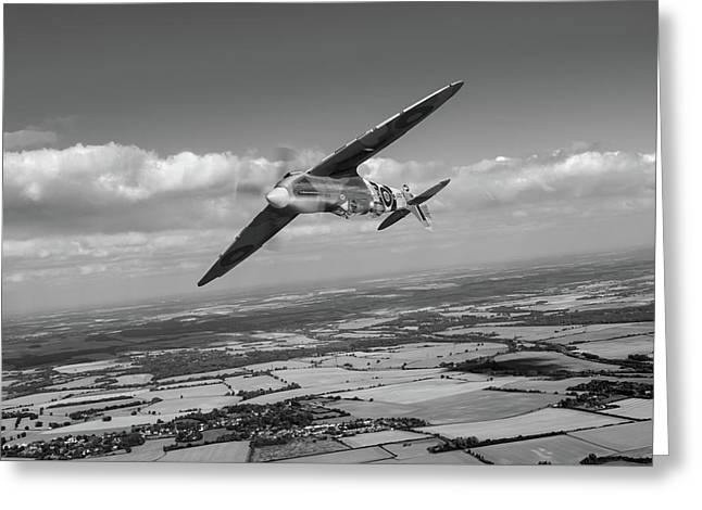 Greeting Card featuring the photograph Spitfire Tr 9 On A Roll Bw Version by Gary Eason