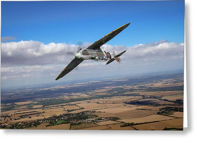 Greeting Card featuring the photograph Spitfire Tr 9 On A Roll by Gary Eason