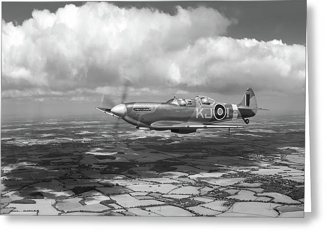 Greeting Card featuring the photograph Spitfire Tr 9 Sm520 Bw Version by Gary Eason