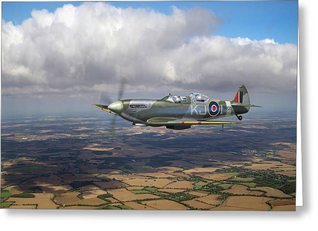 Greeting Card featuring the photograph Spitfire Tr 9 Sm520 by Gary Eason