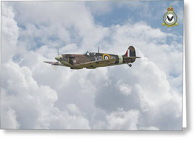Greeting Card featuring the digital art  Spitfire - Us Eagle Squadron by Pat Speirs