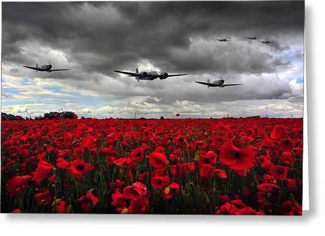 Spitfires And Blenheim Greeting Card