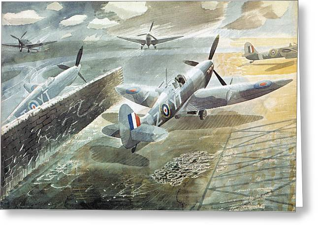Spitfires At Sawbridgeworth Greeting Card by Charlie Ross