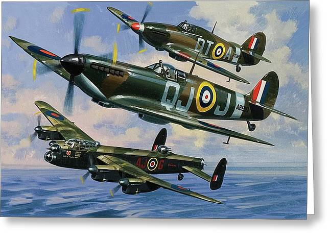 Spitfires Greeting Card by Wilf Hardy