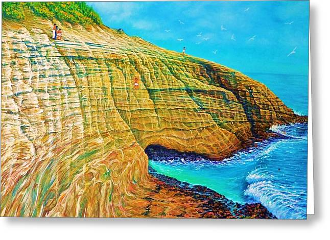 Sand Patterns Greeting Cards - Spitting Caves of Portlock Point Greeting Card by Joseph   Ruff