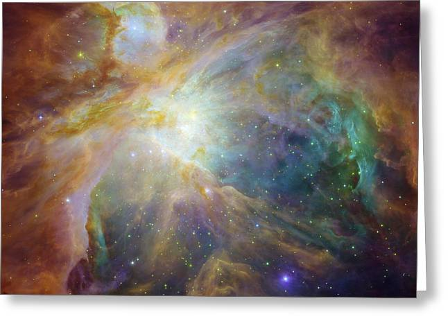 Spitzer And Hubble Create Colorful Masterpiece Greeting Card