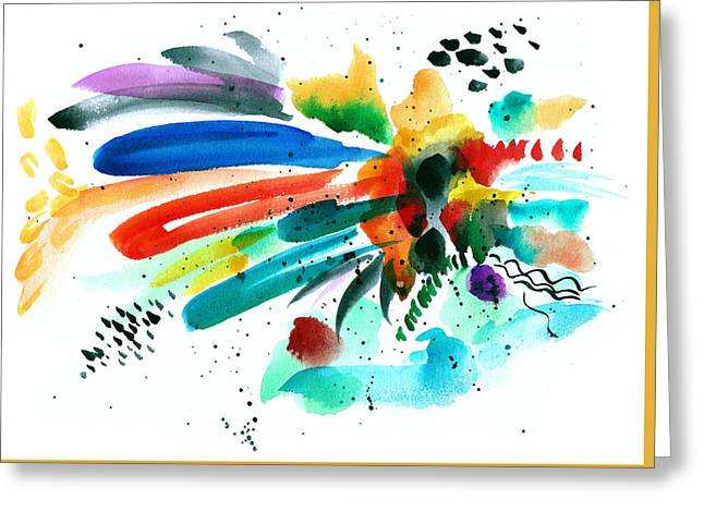 Splash In Abstract Watercolor Greeting Card by My Art