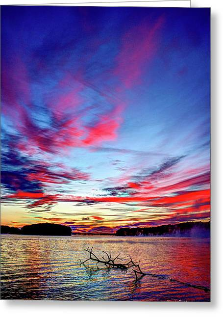 Splash Of Color Sugar Creek Sunrise Lake Oconee Georgia Greeting Card by Reid Callaway