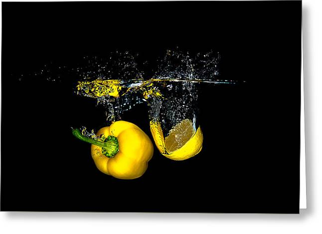 Splash Of  Pepper And Lemon Greeting Card