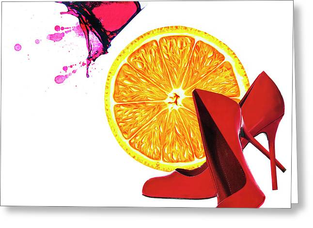 Splash Of Red Greeting Card by Elena Nosyreva