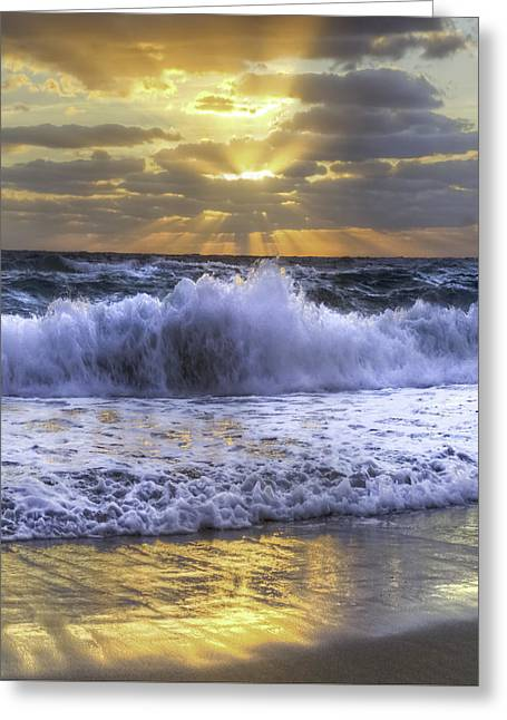 Splash Sunrise IIi Greeting Card by Debra and Dave Vanderlaan