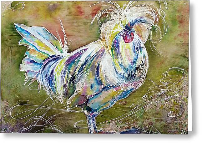 Greeting Card featuring the painting Splash White Polish Chicken by Christy  Freeman