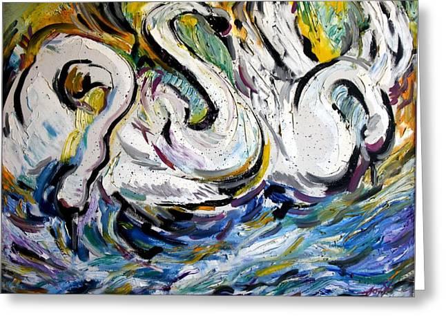 Splashing Swans Greeting Card by Lord Toph
