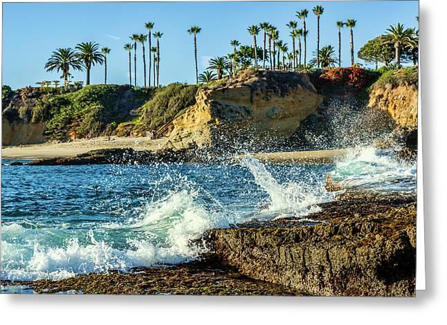 Splashing Waves And Nice Beach Greeting Card by Kelley King
