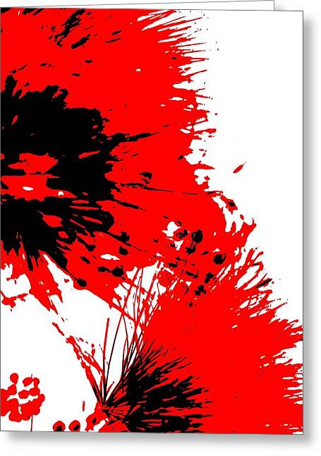 Splatter Black White And Red Series Greeting Card by Betty Northcutt
