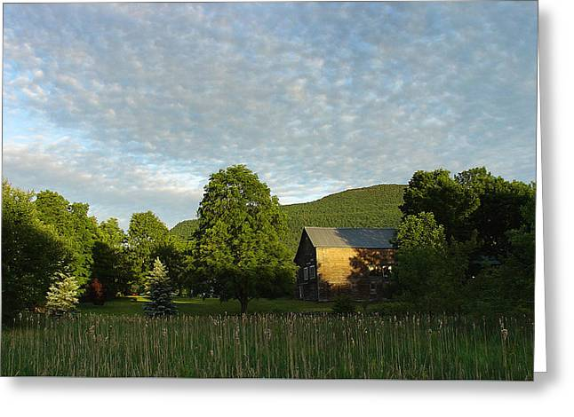 Splatter Of Clouds Touching The Escarpment At Palenville Greeting Card by Terrance DePietro