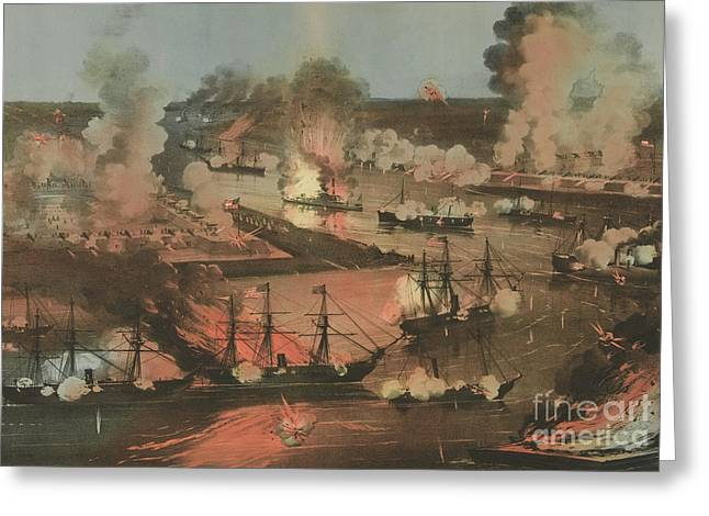 Splendid Naval Triumph Of The Mississippi Greeting Card by American School