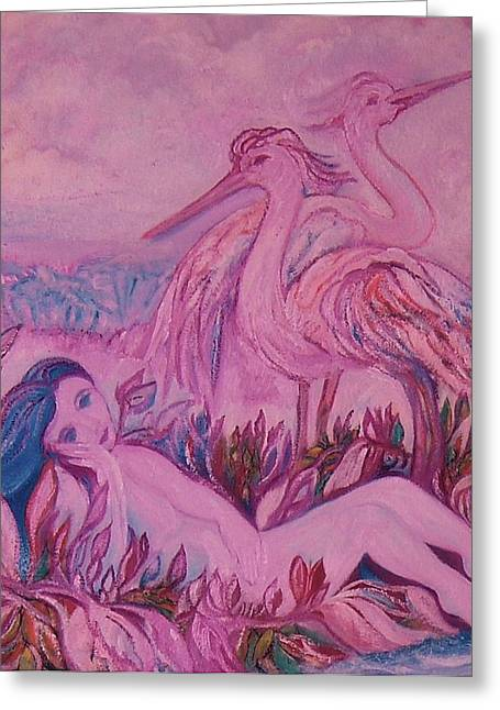 Posters Of Women Mixed Media Greeting Cards - Splendor in the Grass - ART DECO Greeting Card by Gunter  Hortz