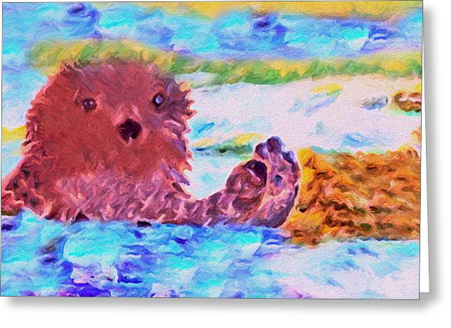 Greeting Card featuring the painting Splish Splash by David Millenheft