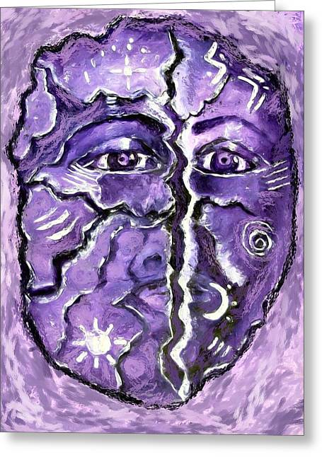 Greeting Card featuring the painting Split A Mask by Shelley Bain