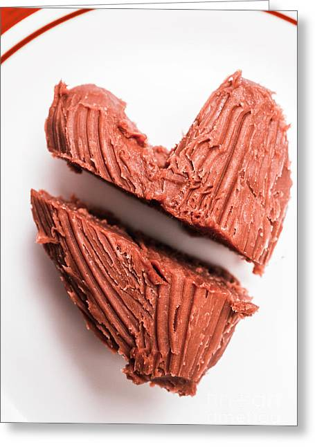 Split Hearts Chocolate Fudge On White Plate Greeting Card