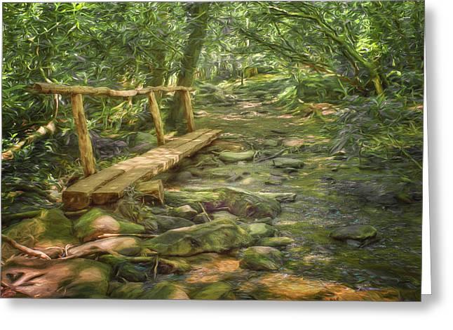 Split Log Bridge - Great Smoky Mountains  Greeting Card by Nikolyn McDonaldFootbridge - Great Smoky Mountains