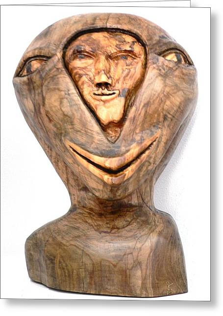 Greeting Card featuring the sculpture Split Personality. Olive Wood Sculpture by Eric Kempson