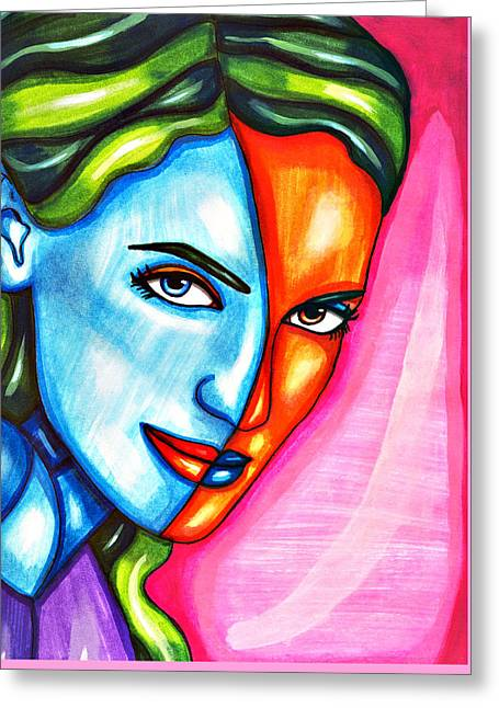 Split Personality Woman Abstract Drawing Greeting Card by Elizavella Bowers