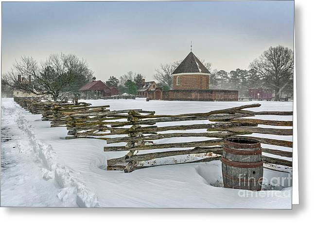 Split Rail Fence In Front Of Colonial Williamsburg Magazine Greeting Card