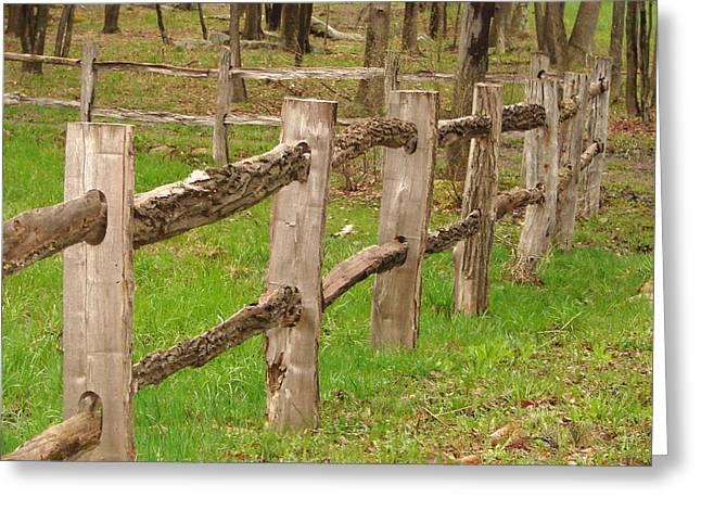 Split Rail Fence Greeting Cards - Split rail fence Greeting Card by Penny Neimiller