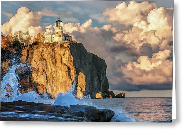 Greeting Card featuring the painting Split Rock Lighthouse by Christopher Arndt
