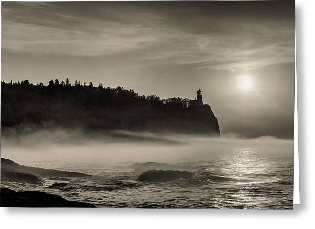 Split Rock Lighthouse Emerging Fog Greeting Card by Rikk Flohr