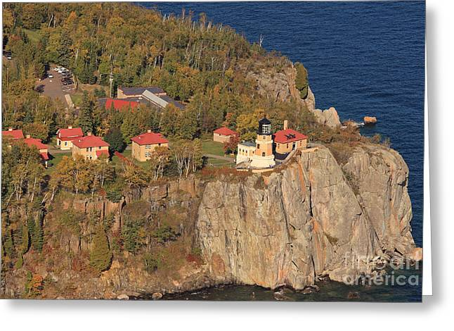 Split Rock Lighthouse Fall Aerial View Greeting Card by Tammy Wolfe