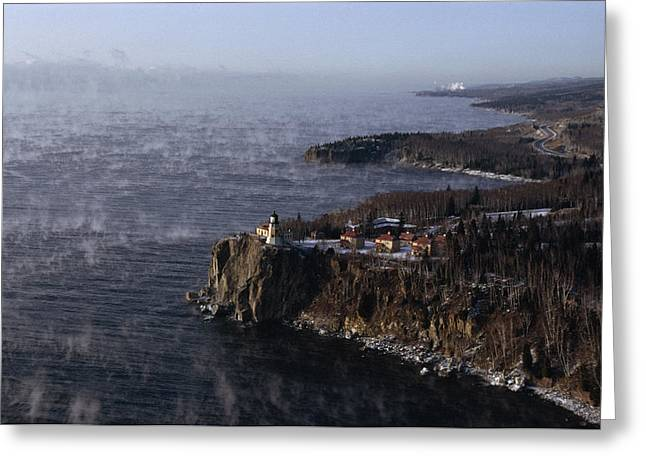 Split Rock Lighthouse On The Palisades Greeting Card by Medford Taylor