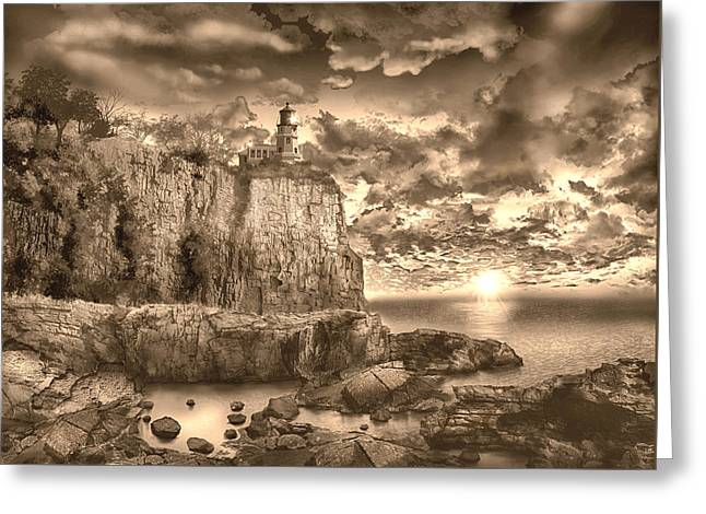 Split Rock Lighthouse Sepia Greeting Card