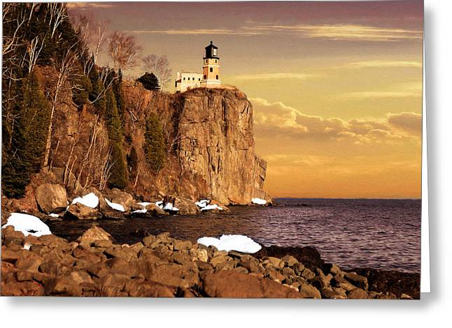 Greeting Card featuring the photograph Split Rock Lighthouse by Susan Rissi Tregoning