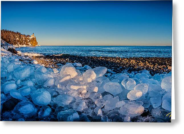 Split Rock Lighthouse With Ice Balls Greeting Card