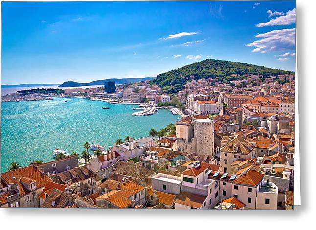 Split Waterfront And Marjan Hill View Greeting Card