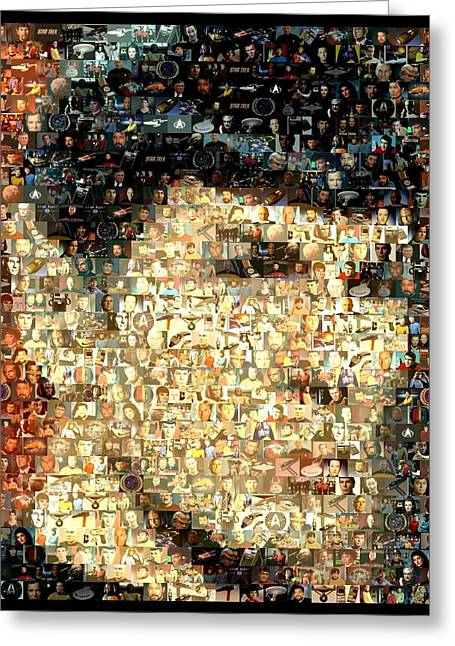 Enterprise Greeting Cards - Spock Star Trek Mosaic Greeting Card by Paul Van Scott