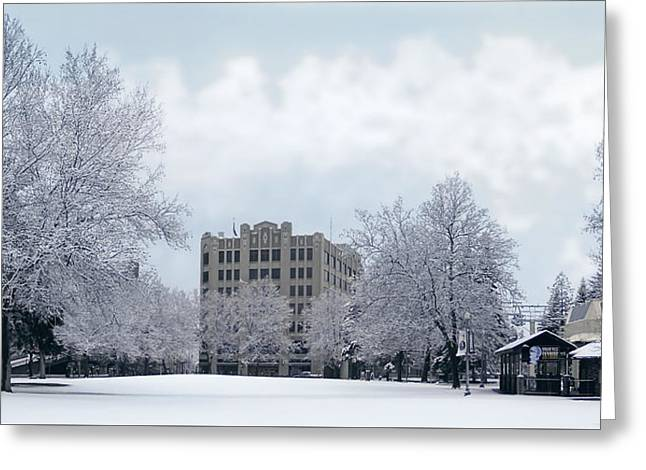 Spokane City Hall In Winter Greeting Card by Daniel Hagerman