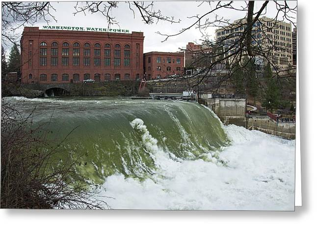 Spokane Falls Record Runoff 2017 Greeting Card by Daniel Hagerman