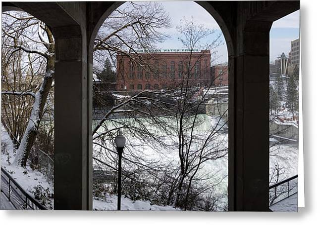 Spokane Falls Winter Triptych Greeting Card by Daniel Hagerman