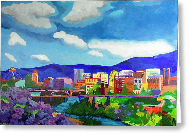 Spokane In Color Greeting Card by Tracy Dupuis Roland