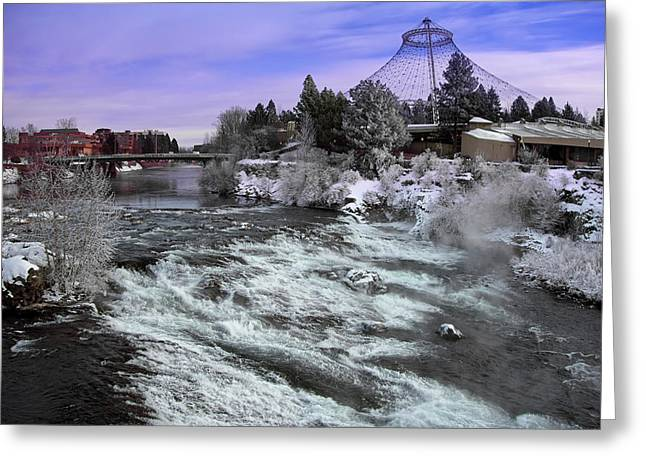 Spokane Pavilion Winter Greeting Card by Daniel Hagerman