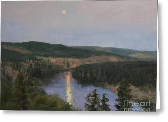 Spokane River At Dusk Greeting Card