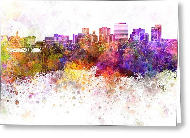 Spokane Skyline In Watercolor Background Greeting Card