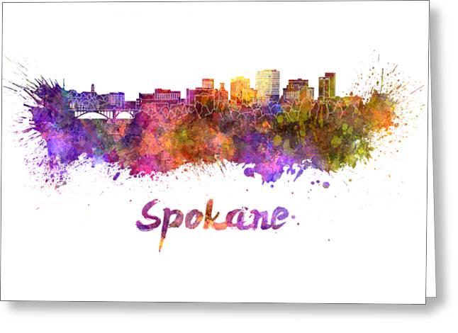 Spokane Skyline In Watercolor Greeting Card